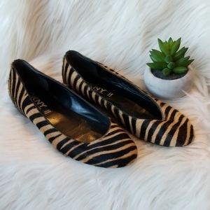 DKNY Tan & Black Italian Fur Flats